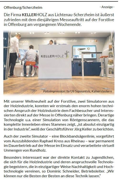 Pressebericht ARZ Forst Live Offenburg